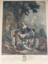 Gravure ancienne rare polychrome «L'OBEISSANCE RÉCOMPENSÉE» Boucher - Gaillard