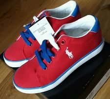 BNWB POLO Ralph Lauren Child Gilbert Red Canvas Trainers/Shoes size UK 11.5