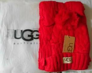 "Ugg Australia Isla Lurex Cable Scarlett Scarf Red 13"" wide"
