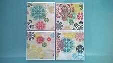 Floral Pattern Ceramic Tile Coasters - Set of 4