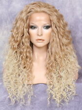 """30"""" Human Hair Blend Full Lace Front Wig Heat OK Spiral Blonde mix T27-613"""