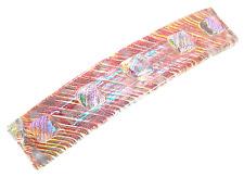 """Dichroic Hair Barrette 3.5"""" 9cm Orange Copper Peach Clear Fused Glass Textured"""