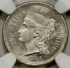 NGC MS65 1865  Three Cent Nickel
