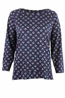 Raglan Sleeve Linen Blend Jersey Top T Shirt Navy Blue Print or Pale Blue Geo