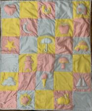 "Vintage 1979 Handmade Baby Quilt Blanket Blue Pink Yellow  46"" X 39"" Very Unique"