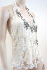 TEMPERLEY London Cream Embroidery Silver Sequin Silk Evening Halter Neck Top 10