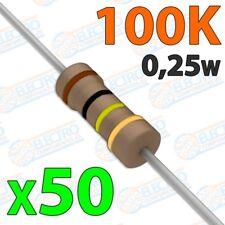 Resistencia 100K ohm 0,25w ±5% 300v - Lote 50 unidades - Electronica Arduino DIY