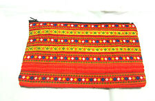 GIFT CUTE LADY ORANGE  ABSTRACT HMONG HILL TRIBE COIN BAG POCKET (THAI HANDMADE)