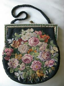 Antique Gold Green Jewel Frame Black Floral Pink Rose MICRO Petit Point Purse