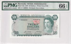 1970 Bermuda 20 Dollars P-26a S/N A/1 000653 PMG 66 EPQ Gem  UNC