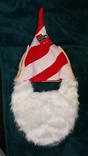 Elf Hat with White Beard, Red & White Stripes