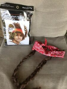 New Hippie Afro Wig And Headband With Braids Adult 60s/70s  Costume Accessories