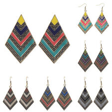 Vintage Bohemian Boho Colorful Resin Enamel Drip Rhombus Dangle Fashion Earrings