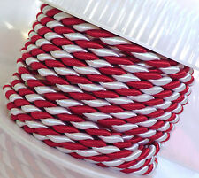 (1m=0,90€) KORDEL 10m x 6mm rot - weiß Drehkordel KORDELBAND Dekoband SCHNUR