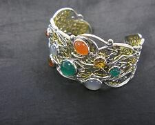 Carolyn Pollack Gemstone Sterling Silver Brass Bird Design Cuff Bracelet Average