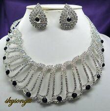 Austrian Obsidian Black Rhinestone Crystal Bridal Necklace Earrings Set S1568X