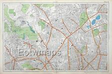 LONDON - HIGHGATE, FINCHLEY GREEN, ISLINGTON, Antique Street Map - Bacon 1912,
