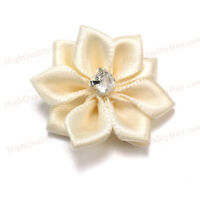 40Pcs DIY Satin Ribbon Flower Rhinestone Appliques Dress Wedding Party  gweg