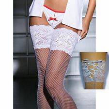 Plus Size Fishnet Stockings Thigh High Wide Lace Top back Lace-up WHITE OR BLACK