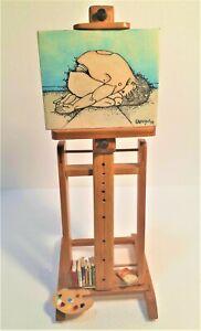 OOAK mini STUDIO ARTIST EASEL 1/6 scale Dollhouse Decor