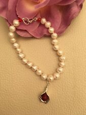 Cultured Pearl Sterling Silver Bracelet Genuine Ruby Lily Charm July Birthstone
