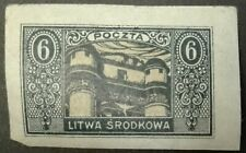 CENTRAL LITHUANIA STAMPS MLH  - New Daily Stamps, 1921, *, imperforated, 6M