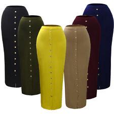 Women Muslim Long Skirt Pencil Bodycon Slim High Waist Stretch Kaftan Button New