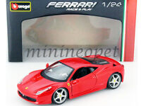 BBURAGO 18-26003 FERRARI 458 ITALIA 1/24 DIECAST MODEL CAR RED