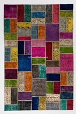 Multicolor PATCHWORK Rug, Handmade from OVERDYED Distressed old Turkish Carpets