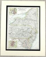 1899 Antik Map Of New York Jersey Pennsylvania United States 19th C Original