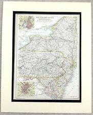 1899 Antique Map of New York Jersey Pennsylvania United States 19th C Original