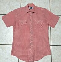 Pardners Western Shirt Pearl Snap Red Checkers Men's Size Medium VTG EUC