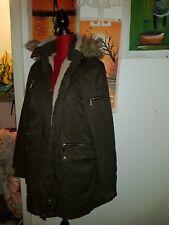 Size 16 Ladies Parka Coat fur hood. Winter. Khaki. Jacket.