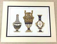 1988 Stampa Antico Francese Neoclassico Raro Porcellana Cobalto Blu Dorato