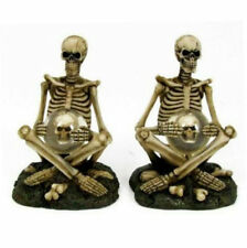 Skeleton Sitting Skull Ball Ornament Figurine Sculpture Statue 10cm Set/2