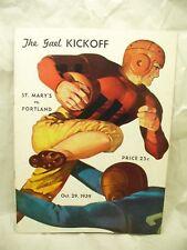 1939 St. Mary's vs Portland Football Program