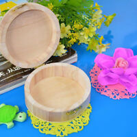 Jewelry Wooden Round Box Packaging Storage Vintage New Natural Postcard Necklace