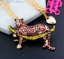 leopard Pendant Necklace Chain Brooch Betsey Johnson Alloy Rhinestone Crystal