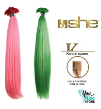 10 Extension cheratina Capelli veri umani Lisci colorati fantasia SHE 55-60 cm