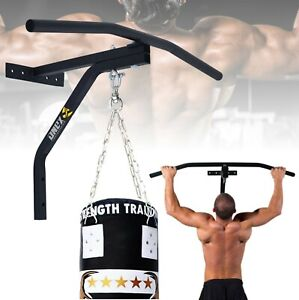 Pull Up Bar Gym Chinning Hanging Wall Steel Mount Punch Bag Bracket