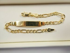6 INCH 14K REAL SOLID YELLOW GOLD FIGARO STYLE BABY ID BRACELET