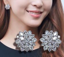 S925 Sterling Silver CZ Cluster Flower Snowflake Stud Earrings