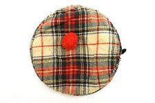 Vintage Wool Plaid Stuart Scottish Tartan Tam o Shanter Pompom Hat Cap