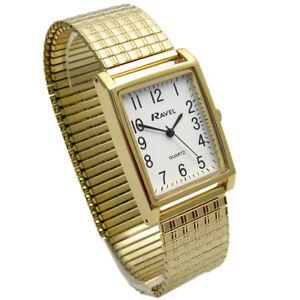 Mens Ravel Super-Clear Square Quartz Watch with Expanding Bracelet 49 R0220.01.1