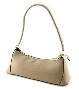 BEIGE leather SHOULDER BAG baguette shape Italian ladies women long slim handbag