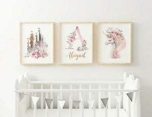 3 x PERSONALISED NURSERY PRINTS A4 - Girls Unicorn Castle Fairytale Pretty Pink