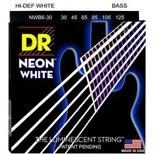 DR NWB6-30 NEON HiDef WHITE COATED BASS STRINGS, MEDIUM GAUGE 6's- 30-125