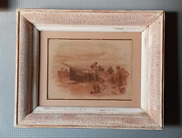 Antique 19th c miniature painting signed by R W S