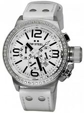 TW Steel Men's TW10R Canteen 45mm White Leather Chronograph Watch