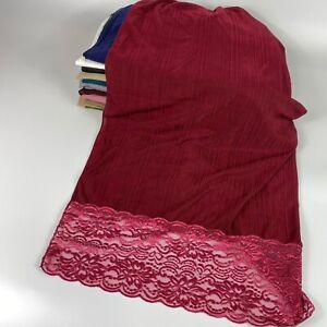 Plain Jersey Lace Stretchy Scarf Hijab Sarong Large Cotton Maxi Shawl Wrap Maxi